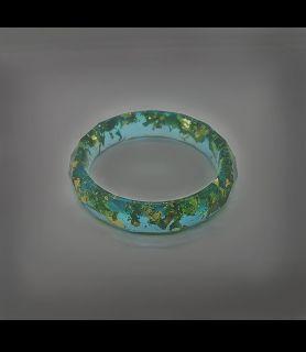 Bracelet feuilles d'or résine